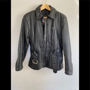 Women's Leather Motorcycle Jacket with Thermoliner